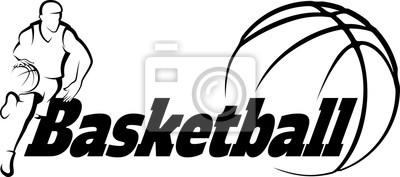 Naklejka Koszykówka Przejazd do Kosz z Stylizowane piłkę z tekstu Basketba