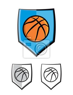 Koszykówka Tarcza emblemat Ikony Ilustracja