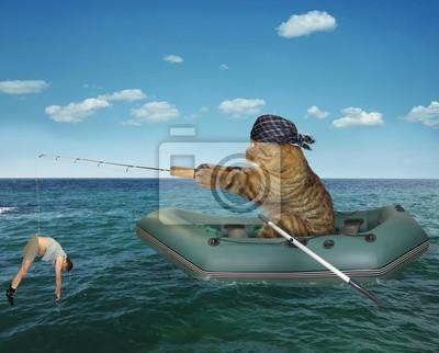 Naklejka Kot w chustwie łowi nadmuchiwaną łódź na morzu.