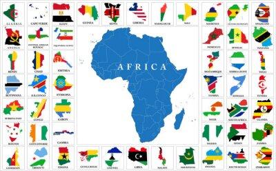 Naklejka kraje Afryki flaga mapy