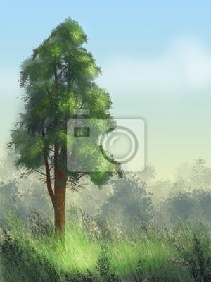 Krajobraz, drzewo, cyfrowy obraz