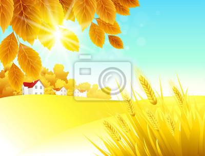 Naklejka Krajobraz jesienny. Vector Background
