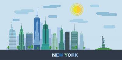 Naklejka Krajobraz wieżowców Nowego Jorku z Statua Wolności. Ilustracja wektora płaskim.
