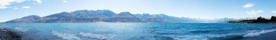 Naklejka krajobraz z jeziora w letni dzień w Nowej Zelandii