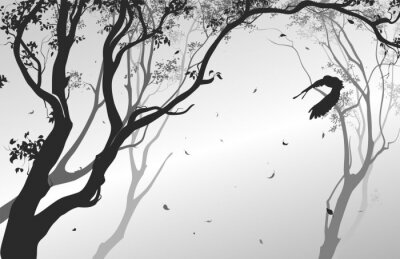 Naklejka krajobraz z latania sowy