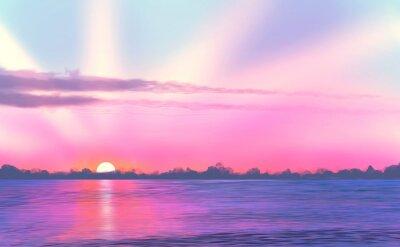 Krajobraz / Zachód słońca / malowanie morze / cyfrowy