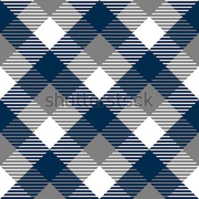 Naklejka Kratkę bawełniany materiał w kratkę bezszwowe wzór tkaniny w niebieski szary i biały, wektor