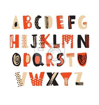 Kreatywny ręcznie rysowane czcionki łacińskiej lub hipster alfabetu angielskiego ozdobione kropki i bazgroły. Jasne kolorowe litery ułożone w kolejności alfabetycznej na białym tle. Ilustracji wektoro