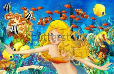 Naklejka Kreskówka ocean i syrenka w podwodnym królestwie pływa z rybami - ilustracja dla dzieci
