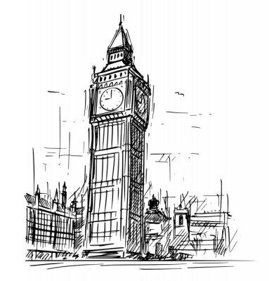 Naklejka Kreskówki nakreślenie rysunkowa ilustracja Westminister pałac, Big Ben Elizabeth zegarowa wierza w Londyn, Anglia, Zjednoczone Królestwo.