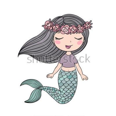 Naklejka Kreskówki piękna mała syrenka w wianku. Syrena. Motyw morski. Ilustracja wektorowa na białym tle.