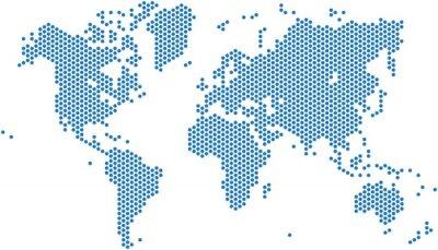 Naklejka Kropki mapa świata na białym tle, ilustracji wektorowych.