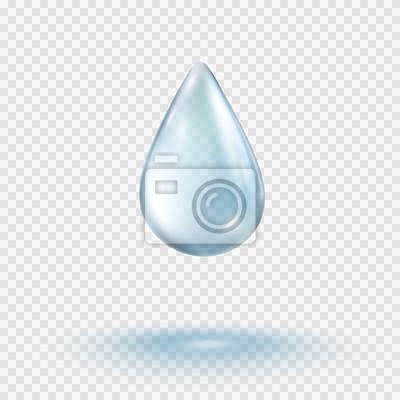 Kropla deszczu wody na przezroczystym tle. Realistyczna czysta kropelka. Wektorowy błękitny jasny bąbel lub rosa szablon.