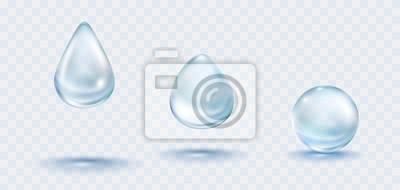 Krople deszczu wody ustawić na białym tle na przezroczystym tle. Wektor realistyczne czyste kropelki z niebieski jasny bąbelek wody lub szablon rosy.