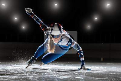 Naklejka krótki utwór. sportowiec na lodzie