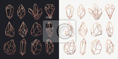 Naklejka Kryształy i diamenty, klejnoty i kontury skał