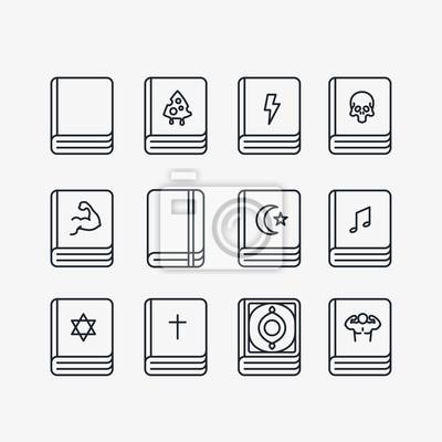 Książki Biblioteka Minimalne Kolekcja Kolekcja Ikony Linii. Bestseller, Święta Biblia, Pamiętnik Treningowy, Koran, Tora.