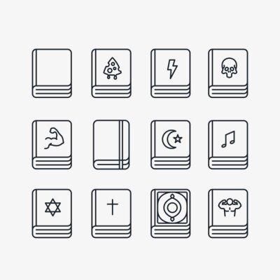 Książki biblioteki Minimalne zestaw ikon wektorowych kolekcji linii. Bestsellery, Święta Biblia, Pamiętnik Treningowy, Koran, Tora.