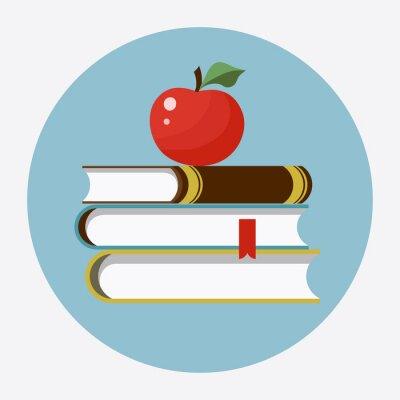 Naklejka Książki z jabłkiem płaskiej ikoną