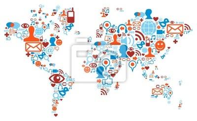 Kształt Mapa świata wykonane z ikony mediów społecznościowych