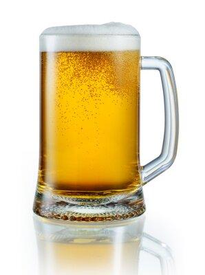 Naklejka Kubek z lekkiego piwa na białym tle. Z wycinek pa