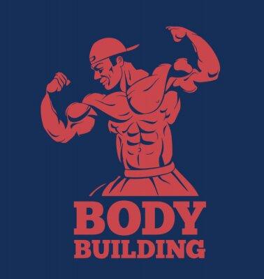Naklejka kulturysta siłacz fitness model stwarzające logo. kulturysta kulturystyka emblemat przedstawiający mięśnie