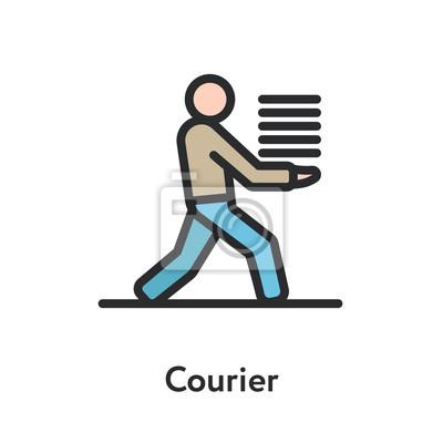 Kurier dostawy człowiek działa z dokumentów minimalnym kolorze linii płaskiej zarys ikona kreski