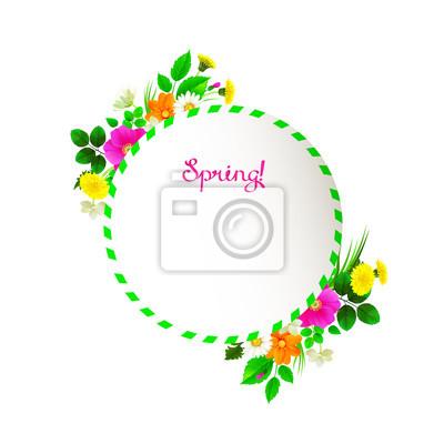 Kwiat tła ramki zdobione mlecze, chamomiles, dzikiej róży, jaśminu. Różowy liternictwo wiosny jak wstążka.