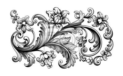 Kwiat vintage Barokowy przewiń Wiktoriański obramowanie kwiatowy ornament liść grawerowany retro wzór róża piwonia dekoracyjny projekt tatuaż czarno-biały filigran kaligraficzny wektor