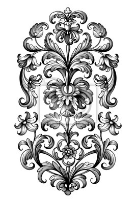 Kwiat vintage barokowy przewiń wiktoriański rama obramowanie kwiatowy ornament liść grawerowane retro wzór lilia piwonia ozdobny projekt tatuaż czarno-biały filigran kaligraficzny wektor