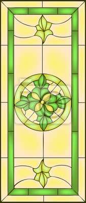 Naklejka Kwiatowa kompozycja symetryczna, ilustracji wektorowych w witraża