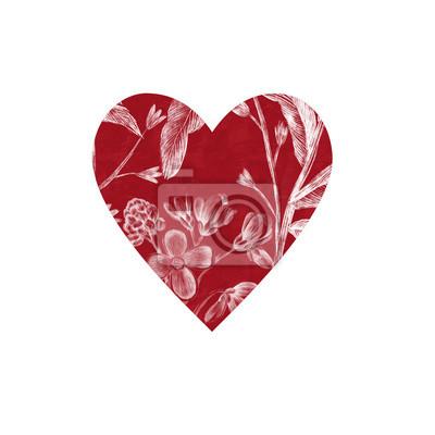Kwiatowe czerwone serce