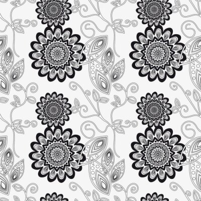 Naklejka Kwiatowy ornament w czerni i bieli.