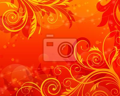 kwiatowy przewijania vintage, vector, czerwone tło
