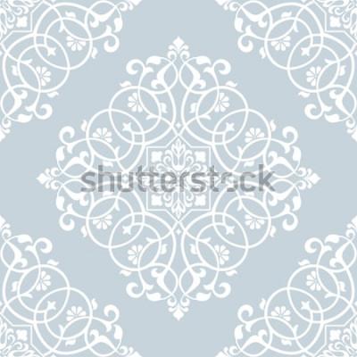 Naklejka Kwiatowy wzór. Barokowa tapeta, adamaszek. Bezszwowe tło wektor. Niebiesko-biały ornament.