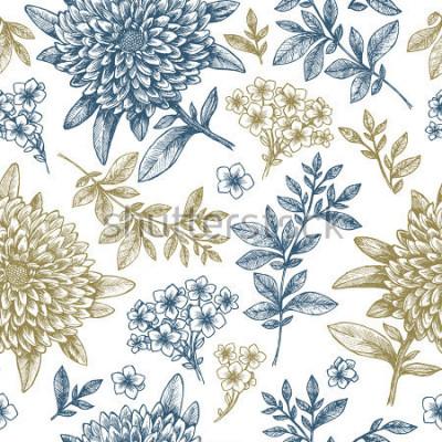 Naklejka Kwiatowy wzór. Liniowy szkicowy kwiat elementy. Vintage projektowania tkanin. Ilustracji wektorowych