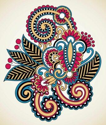 kwiatowy wzór tatuażu, ozdobne dekoracje