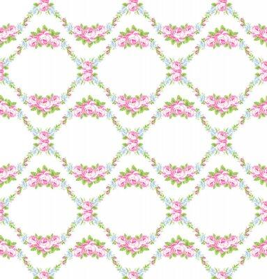 Naklejka Kwiatowy wzór w ogrodzie róż