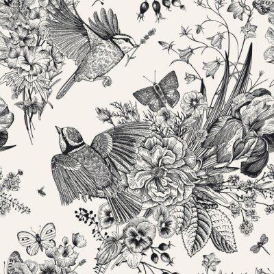 Kwiatowy wzór. Wektorowa rocznik botaniczna ilustracja.