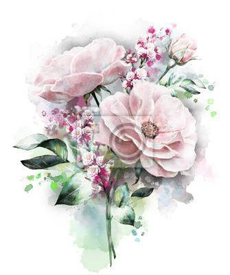 kwiaty akwarela. kwiatowy, kwiat w pastelowych kolorach, różowym rose. Gałąź kwiatów samodzielnie na białym tle. Liści i pąków. Śliczne skład na ślub lub kartkę z życzeniami. Splash farby