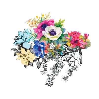 Kwiaty bez szwu wzór akwarela, papier, tekstylia, tkaniny, wrapper, tapeta, vector