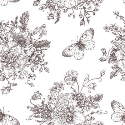 Naklejka Kwiaty bez szwu wzór i motyli.