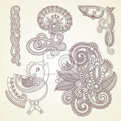 kwiaty i ptaków doodle element projektu ilustracji