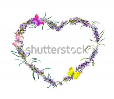 Naklejka Kwiaty lawendy i motyle. Akwarela kwiatowy serca ramki na Walentynki, wesele