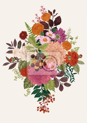 Kwiaty letnie i jesienne. Dahlias, Ruscus, Viburnum, Ranunculus. Nowoczesny kwiatowy ilustracji wektorowych.