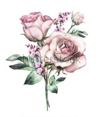 Naklejka kwiaty w akwarela. ilustracja kviatova, kwiat w pastelovy kolory, różowa róża. gałąź kwiatów na białym tle. Liść i pąki. Śliczny skład dla ślubu lub kartka z pozdrowieniami. bukiet