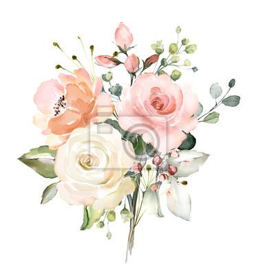 kwiaty w akwarela. ilustracja kwiatowa, liść i pąki. Botaniczny skład na ślub lub karty z pozdrowieniami. gałąź kwiatów - abstrakcja różowe róże