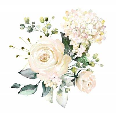 kwiaty w akwarela. ilustracja kwiatowa, liść i pąki. Botaniczny skład na ślub lub karty z pozdrowieniami. gałąź kwiatów - róże abstrakcyjne, hortensja