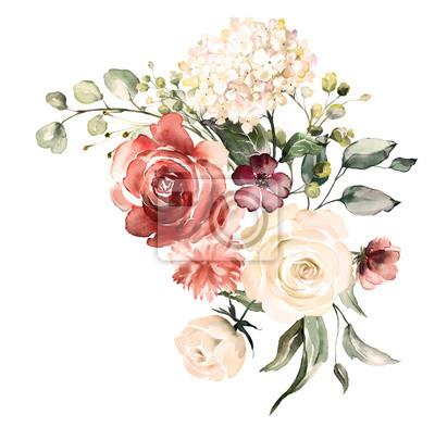 Naklejka kwiaty w akwarela. ilustracja kwiatowa, liść i pąki. Botaniczny skład na ślub lub karty z pozdrowieniami. gałąź kwiatów - róże abstrakcyjne, hortensja