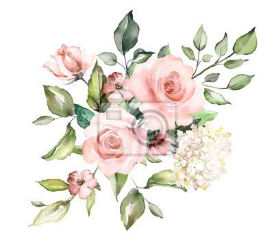 kwiaty w akwarela. ilustracja kwiatowa, liść i pąki. Botaniczny skład na ślub lub karty z pozdrowieniami. gałąź kwiatów - róże abstrakcyjne, romantyczne